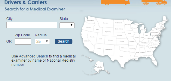 FMCSA medical exam search