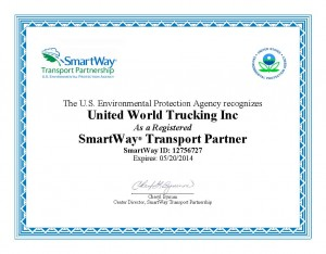 Smart Way Registration Certificate - 2013 - UWTrucking