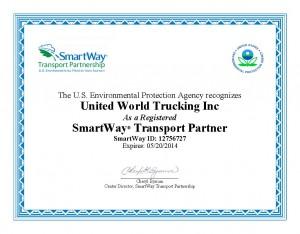 Smart Way Registration Certificate - 2013 - UWTrucking