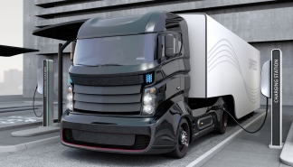 Hybrid electric truck being charging at charging station