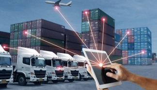Business shipping logistics technology concept by people is using tablet to control shipping method.