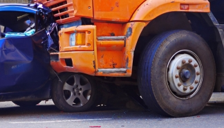 car crash accident on the road. truck and passenger car collision